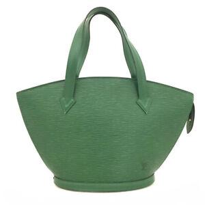 Auth Louis Vuitton Epi Saint Jaques Green Leather Shoulder Tote Bag /61639