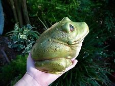 "Large Bull Frog Garden Statue 6"" tall Green Concrete Yard Art Handmade Usa"