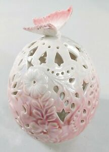 Porcelain Egg Luminary - Pink/Cream w/ LED Candle/Light - Home Reflections