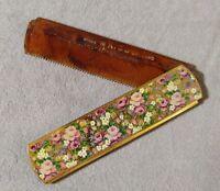 KIGU Hair Comb Turtle Bakelite Gold Tone Floral Case Vintage Vanity England