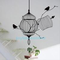 Black Birdcage Birds Removable Wall Sticker Home Decor Decal Art Vinyl Mural PVC