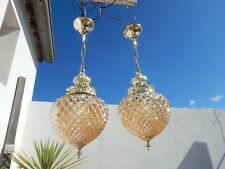 Vintage French pair of pineapple chandeliers glass ceilings lights