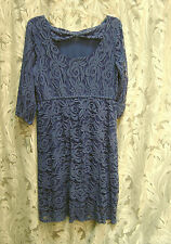 ING SAPPHIRE BLUE LACE OPEN/BOW BACK EMPIRE WAIST KNEE LENGTH DRESS~2X~1X~NEW