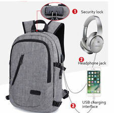 Laptop Backpack Travel Anti-theft Bag Rucksack With USB Port Password Coded Lock