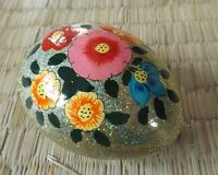 Hand painted Kashmir papier mache egg shaped silvery glitter floral trinket box