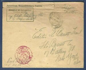 Knights of Columbus A.E.F. Officer's Mail 1918 Cover Passed Army Censor