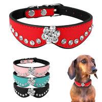 Crystal Rhinestone PU Leather Small Dog Collars Diamante Dog Puppy Necklaces