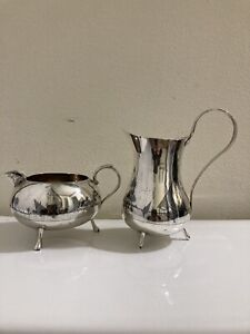 2 piece set of iraqi niello silver milk jug & creamer