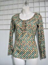 Miss Sasa Size Jr Medium Henley Top in Multi-color with Ruffle Trim New with Tag