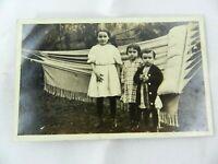 Vintage Real Photo Postcard Portrait Kids Children Hammock