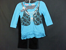 New Young Hearts Size 18 Months Toddler Girls Turquoise Shirt With Black Pants