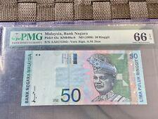 1996-98 Malaysia 50 Ringgit 1st Prefix - Gem Uncirculated PMG66 EPQ