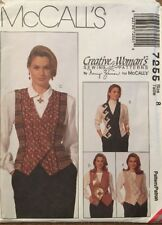 McCall's Sewing Pattern 7255 Misses' Lined Vest by Nancy Zieman in Sz 8 Uncut