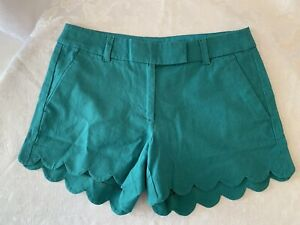 J CREW Linen Blend Cotton Scalloped Hem Shorts Green Sz 4 NWT