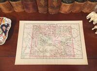 Original 1894 Antique Map WYOMING Jackson Sheridan Sweetwater Laramie Riverton