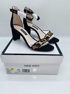 NINE WEST Women Pruce Ankle Strap Block Heel Sandal Black Multi Cow Suede 6.5M