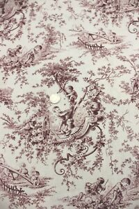 """Antique French Cotton Fabric Children's Toile Curtain Panel c1900~3yds4""""LX32""""W"""