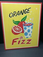Pottery Barn Kids Vintage WOOD PLAQUE ORANGE FIZZ Drink Kitchen Playroom WALL