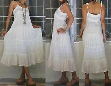 ETHNIC VINTAGE 70'S CREAM GAUZE LACE CORSET HIPPIE BOHO GYPSY SHEERS MIDI DRESS