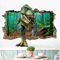 3D Broken Wall Dinosaur Stickers PVC Kids Room Wall Mural Home Decal Ksy