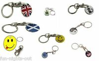 1 x Trolley Token Pound Coin Wedding Favour Key Ring & Clasp Shopping Gift £1