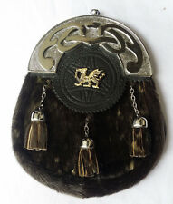Men's Full Dress Kilt Sporran Seal Skin Celtic Welsh Dragon/Scottish Sporrans