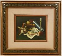 "Vintage Oil Painting on Canvas Still Life Signed Framed Art (17"" x 18.5"")"