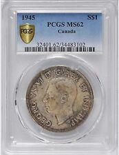 1945 Silver Dollar PCGS Graded MS-62 * RARE Date King George VI KEY Canada $1.00