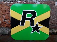 $$$ RARE JAMAICAN FLAG ROCKSTAR GAMES LOGO VINYL STICKER $$ GRAND THEFT AUTO $$$