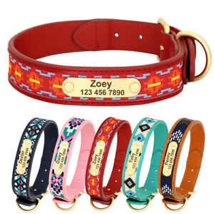 S-XL Embroidered Leather Dog Collar Personalised Custom Pet Name Number Engraved