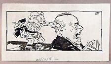 1920s-30s BENITO MUSSOLINI  origInal art Stuart Pratt SEATTLE TIMES