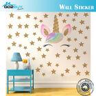 Diy Wall Sticker Unicorn Golden Stars Art Vinyl Wall Decals Home Room Decor