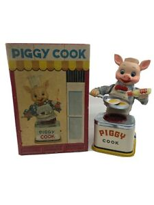 1950's Piggy Cook Battery Operated Toy Made by Yonezawa Japan w/ Original Box
