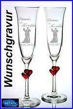 2 Sektgläser mit Hochzeit Gravur Personalisiert  Geschenk Sektglas rot