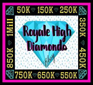 ROYALE HIGH DIAMONDS (50K-1M) 🟢 ONLINE NOW!! RH, HALO *READ DESCRIPTION*