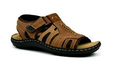 Men's Sports Leather Sandal Touch Fastening Strap Casual Hiking Trail Walking