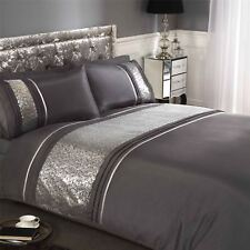 SEQUINS BAND PINTUCK CHARCOAL GREY FAUX SILK SUPER KING SIZE 4 PIECE BEDDINGSET