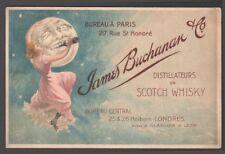 Whisky James Buchanan. Rare carte commerciale de distillateur vers 1900. Lune