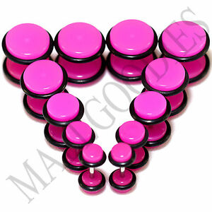 "V105 Fake Cheaters Illusion Faux Ear Plugs 4G 2G 0G 00G 7/16"" 1/2"" Hot Pink 8mm"