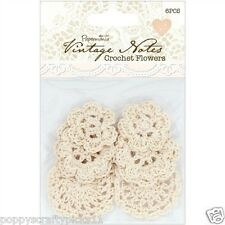 6 PAPERMANIA VINTAGE NOTES CREAM CROCHET FLOWERS CARD MAKING EMBELLISHMENTS