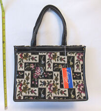 NEW VINTAGE 1960s 70s CELEBRITY FORAL TAPESTRY NEEDLEPOINT HANDBAG WITH TAG