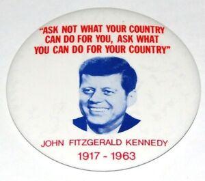"1963 3.5"" JOHN F KENNEDY JFK MEMORIAL pin pinback button political presidential"