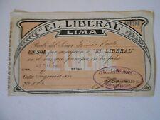 PERU Art Nouveau style subscription document for newspaper print media 1907 1Sol