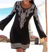 Women's Casual Boho Print Long Sleeve Mini Dress Beachwear Straight Sundress