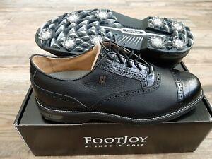 NEW 2021 FootJoy Dryjoys Premiere Mens Golf Shoes Black Cap Toe 9.5M 53905