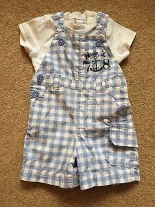 Baby Boys Next Summer Short Dungarees & Vest T.shirt Set 3-6 Months VGC !