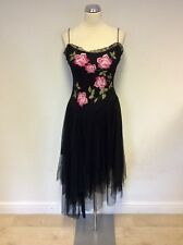 LAUNDRY BLACK & PINK FLORAL EMBROIDERY NET ASYMETRIC SKIRT STRAPPY DRESS SIZE 8