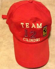 Ferrari Team 12 Cilindri Baseball Cap Hat One Size Fits All Red Embroidered
