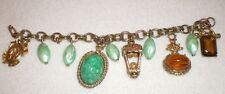 Vintage Elegant Gold Double Chain Tone Green Amber Dangle Chunky Charm Bracelet