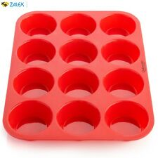 New 12 Copper Chef Muffin Pan Cupcake Large Silicone Safe Non-Stick Tray Red